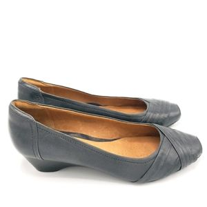 Clarks Ryla King Leather Wedge Shoes Navy Size 9